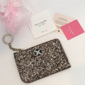 New Kate Spade Odette Glitter Keychain Card Holder